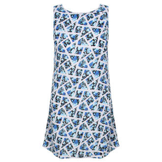 View Item Blue Floral Sleeveless Dress